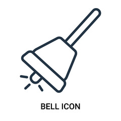 Bell icon vector isolated on white background, Bell sign , outline linear symbol or thin lined pictogram