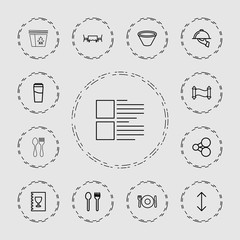 Collection of 13 menu outline icons