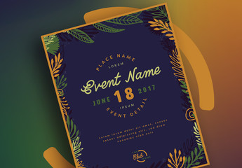 Event Flyer Layout with Dark Floral Elements