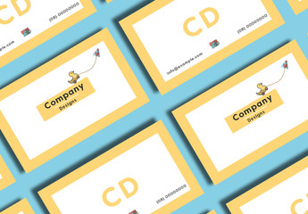 Business Card Layout with Toy Illustration