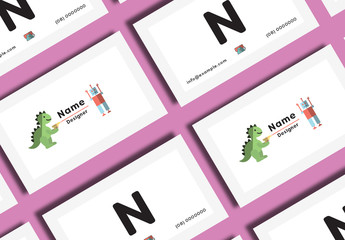 Business Card Layout with Robot Illustration