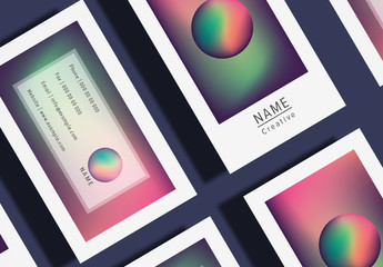 Business Card Layout with Gradient Shapes