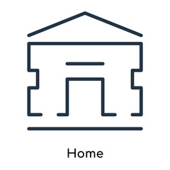 Home icon vector isolated on white background, Home sign , thin symbols or lined elements in outline style
