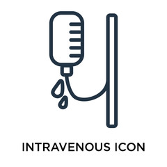 Intravenous icon vector isolated on white background, Intravenous sign , thin elements or linear logo design in outline style