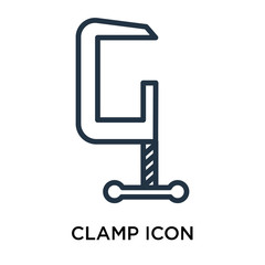 Clamp icon vector isolated on white background, Clamp sign , line symbol or linear element design in outline style