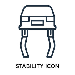 Stability icon vector isolated on white background, Stability sign , line symbol or linear element design in outline style
