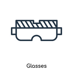 Glasses icon vector isolated on white background, Glasses sign , thin symbols or lined elements in outline style