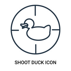 Shoot duck icon vector isolated on white background, Shoot duck sign , outline linear symbol or thin lined pictogram