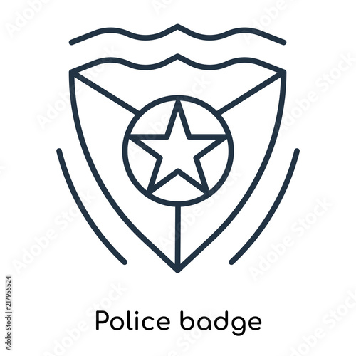 Police Badge Icon Vector Isolated On White Background Police Badge