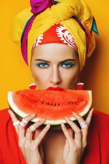 taste of juicy watermelon