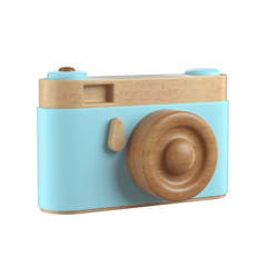 Vintage wooden Photo Camera. Overhead view of Traveler's accessories, Flat lay photography of Travel concept. White isolated background. 3d render