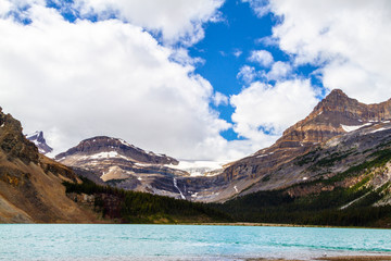 Bow Glacier With Waterfall and Bow Lake in Banff National Park