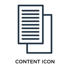 Content icon vector isolated on white background, Content sign , thin symbol or stroke element design in outline style