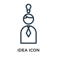 Idea icon vector isolated on white background, Idea sign , linear pictogram or outline logo design in lined style