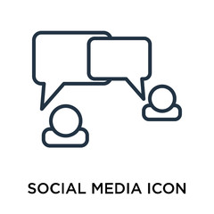 Social media icon vector isolated on white background, Social media sign , thin symbol or stroke element design in outline style