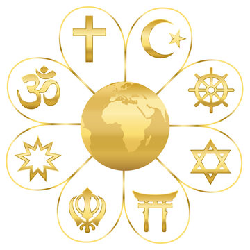 World religions united on a golden flower with planet earth in center. Signs of major religious groups and religions. Christianity, Islam, Hinduism, Buddhism, Taoism, Shinto, Sikhism and Judaism.