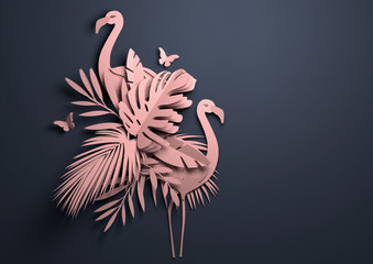 Folded Paper art origami.Tropical background with flamingos. 3D illustration.