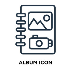 Album icon vector isolated on white background, Album sign ,thin symbols or lined elements in outline style