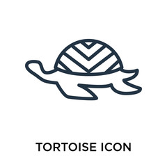Tortoise icon vector isolated on white background, Tortoise sign , thin pictogram or outline symbol design in linear style