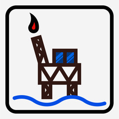 Coloured outline Oil drilling industry pixel perfect vector icon