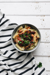 Delicious pasta with tomatoes, mussels and herbs
