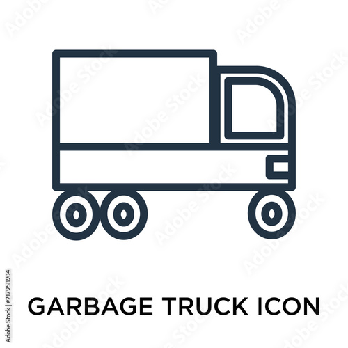 Garbage Truck Icon Vector Isolated On White Background Sign Linear Pictogram Or