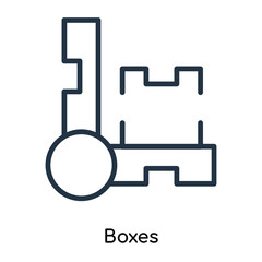 Boxes icon vector isolated on white background, Boxes sign , thin symbols or lined elements in outline style