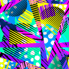 Abstract geometrical seamless rough grunge pattern, modern design template. Hipster hypebeast painted style textu