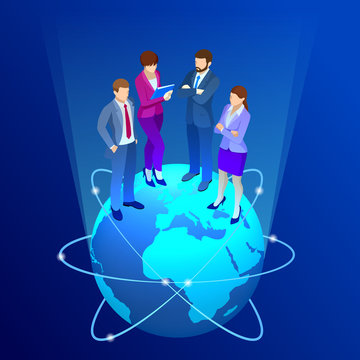 Isometric business team, business people concept. Web banner. Business people are standing on a world globe. New ideas, search for investor, increased profits. Business situation. Vector illustration