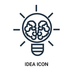 Idea icon vector isolated on white background, Idea sign , outline linear symbol or thin lined pictogram