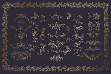 Cooper Color Floral Borders and Frames. Golden Flourishes Set on Dark. Gold Dividers. Italian Vintage Ornament. Isolated Greeting Card Headpiece or Wedding, Certificate and Diploma Elements