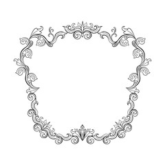 Floral border for picture. Italian vintage ornament for photo. Isolated Retro divider with swirl for greeting card or wedding, decoration vignette. Royal flourish, headpiece template