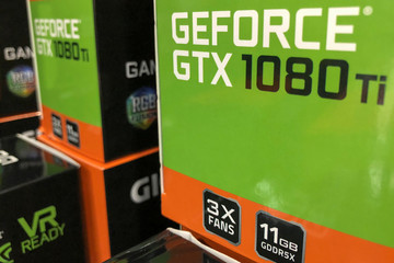 NVIDIA graphic cards are shown for sale at a retail computer store in San Marcos, California