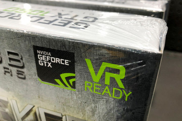 NVIDIA graphic cards are shown for sale at a retail computer