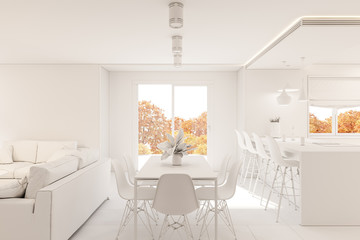 3d render modern living room interior design with fireplace