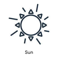 Sun icon vector isolated on white background, Sun sign , thin symbols or lined elements in outline style