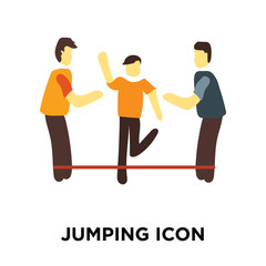 Jumping icon vector isolated on white background, Jumping sign