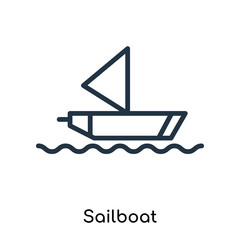 Sailboat icon vector isolated on white background, Sailboat sign , thin symbols or lined elements in outline style