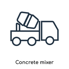 Concrete mixer icon vector isolated on white background, Concrete mixer sign , thin symbols or lined elements in outline style