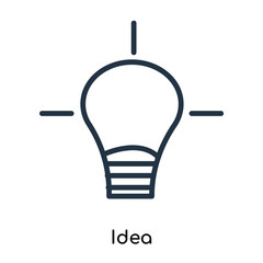 Idea icon vector isolated on white background, Idea sign , thin symbols or lined elements in outline style