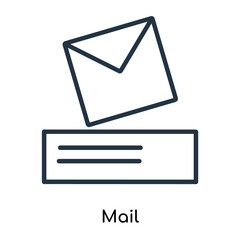 Mail icon vector isolated on white background, Mail sign , thin symbols or lined elements in outline style