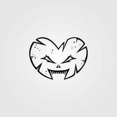 love heart shaped monster character sign symbol