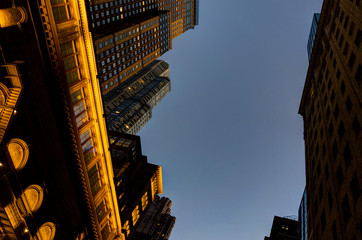New York Skyscraper Skyline View Megacity Twilight