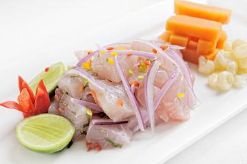 Ceviche, dish symbol of Peruvian gastronomy. Peru.