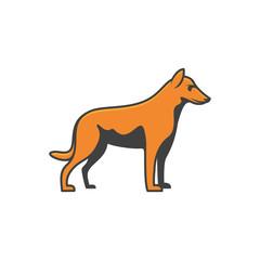 minimalist line art outline head dog icon logo template vector illustration