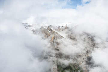Flying through clouds and mountains in Wrangell-St.Elias National Park, Alaska