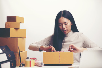 startup small business owner working with computer at workplace. freelance woman seller check product order, packing goods for delivery to customer. Online selling, e-commerce, shipping concept