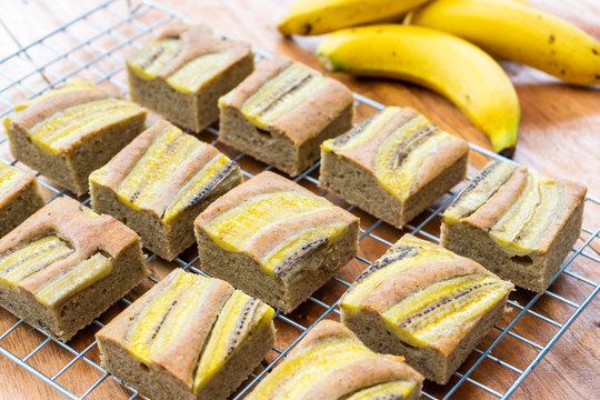 banana cake with fresh banana on top