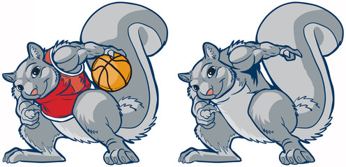 Muscular Squirrel Mascot Basketball Player Vector Cartoon