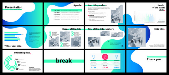 Obraz Business presentation template with green and blue gradient fluid shapes on white background. - fototapety do salonu